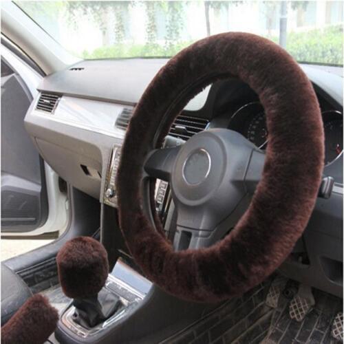 3Pcs Warm Plush Steering Wheel Cover Winter Furry Fluffy Soft Plush Car Wheel FI