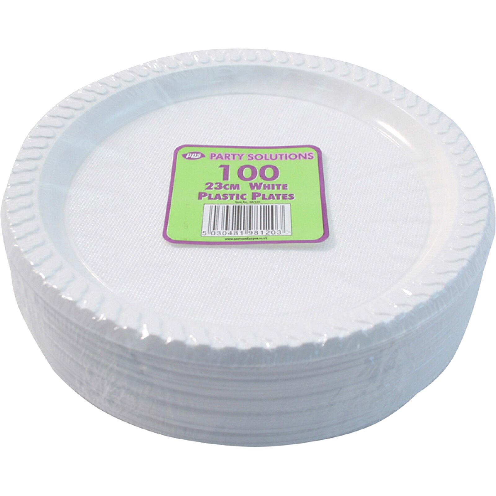 2000 x Weiß PLASTIC PLATES ROUND 23cm 9  TABLEWARE PARTY BIRTHDAY DISPOSABLE
