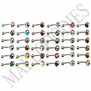 W101-Metal-Belly-Rings-Naval-Barbells-Steel-Funny-Nasty-Wording-Logo-Lot-of-20