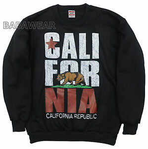 California Bear Crew Neck Sweat Shirt Charcoal Cali Republic Oversize Pic BABA