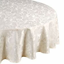 "LUXURY FLORAL DAMASK JACQUARD NATURAL 69"" ROUND TABLE CLOTH PARTY STYLE ELEGANT"