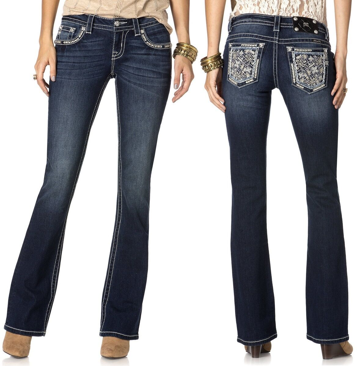 Miss Me JP8287B Blooming Bouquet Embellished Dark bluee Bootcut Jeans, 27R -