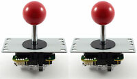 2 x Genuine Sanwa JLF-TP-8YT Ball Top Arcade Joysticks, 4/8 Way (Red) MAME JAMMA