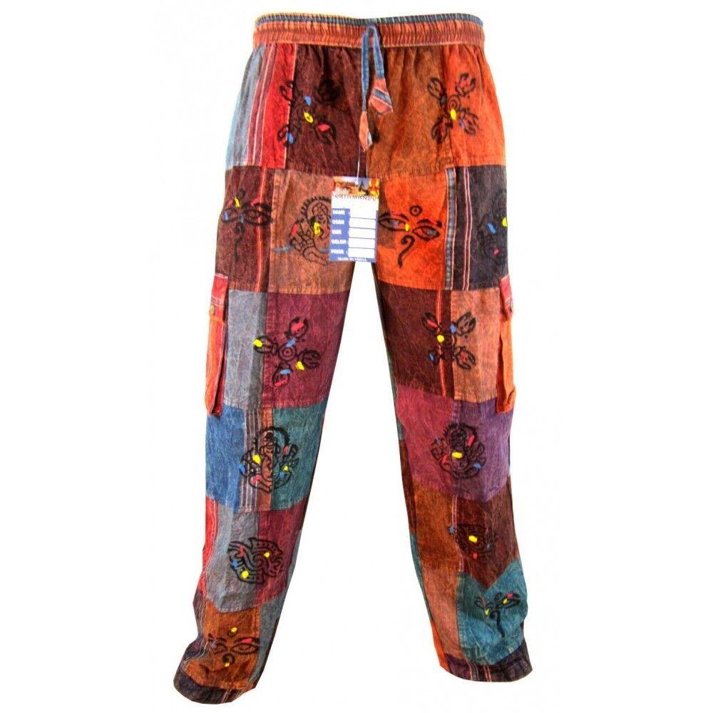 Uomo Cotone Patchwork OM simbolo elastico vita vestibilità vestibilità vestibilità larga gitano a794c9
