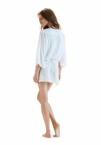 i15 Vix Paula Hermanny Swim Solid White Romance Caftan Cover Up Sz S