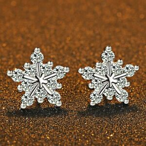 Crystal-Snowflake-Stud-Earrings-925-Sterling-Silver-Womens-Girls-Jewellery-Gift