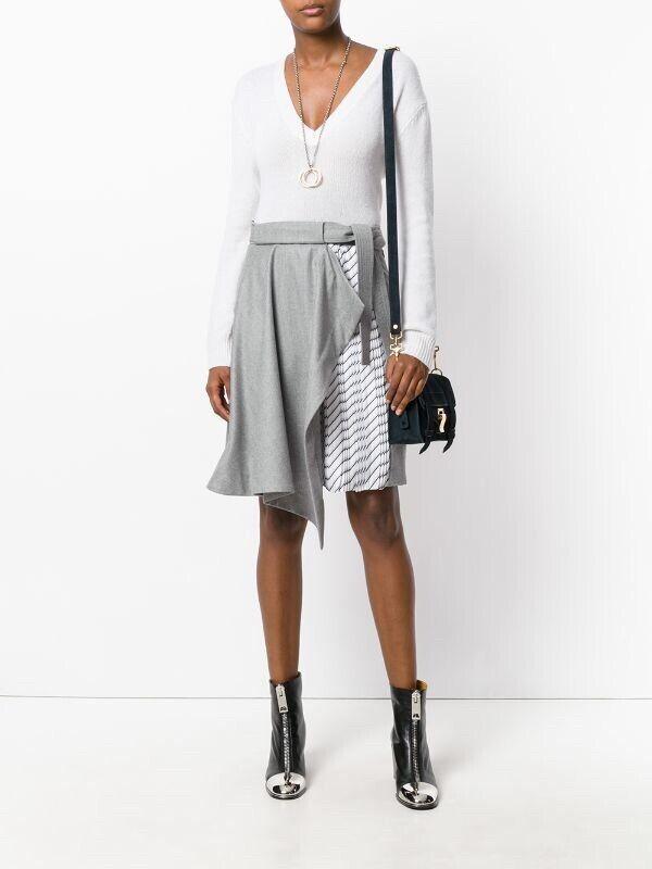Autoven grau Jupe Draped Asymmetric Wolle e Silk Blend Skirt BNWT  Größe 8