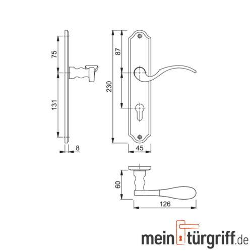 Hoppe Potsdam Türgriff Messing poliert F71 Türdrücker Türbeschlag M112PL//310P PZ