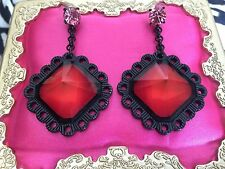 Betsey Johnson Vintage Pink Lucite Pyramid Spike Block Black Lace Earrings RARE