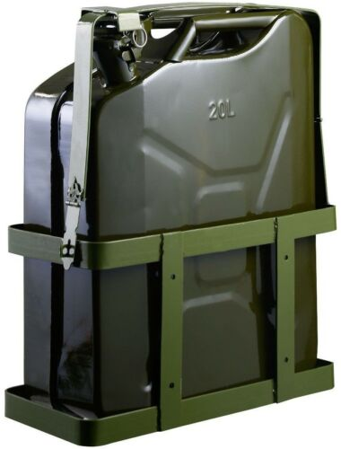 Fuel Tank Military Green with Holder Solid Steel 5 Gallon 20L Gas Jerry Can Tool