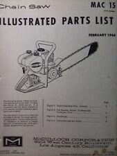 Mcculloch Mac 15 Chain Saw Parts Manual Chainsaw 1964 Gasoline Engine 2 Stroke