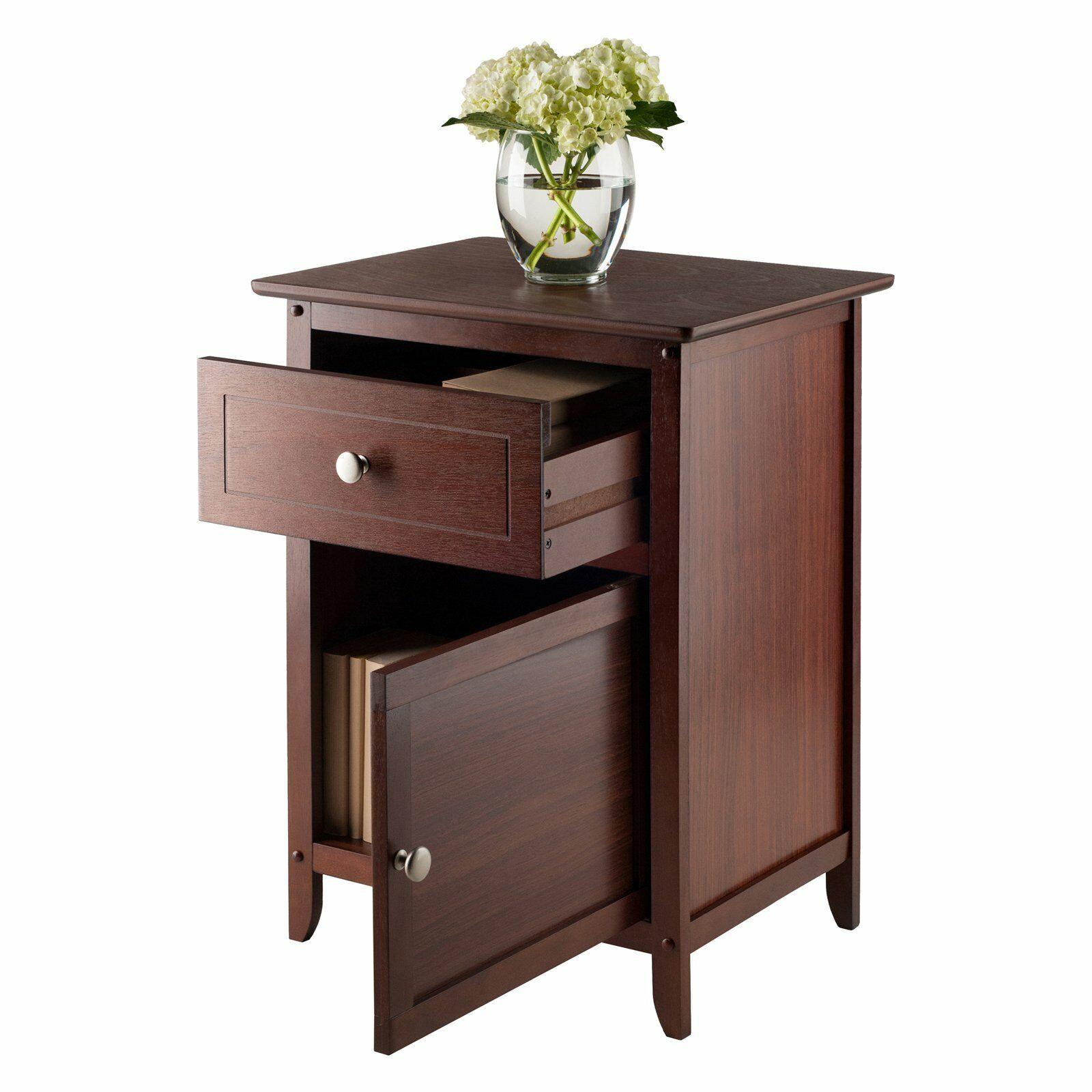 Benzara Syracuse Traditional Style Nightstand Dark Walnut For Sale Online Ebay