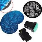 10 Design DIY Stencil Nail Art Image Stamp Stamper Plate Manicure Template Tool