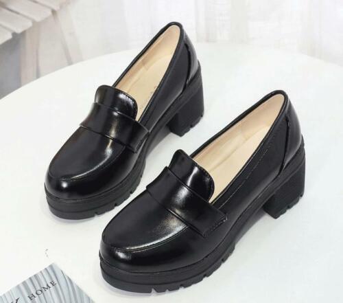 Japanese JK School Block High Heel Shoes Women Cosplay Maid  High Quality PU