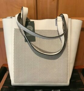 New NWT Vince Camuto Beatt Perforated Leather Tote Pale Heather Gray Grey  $258
