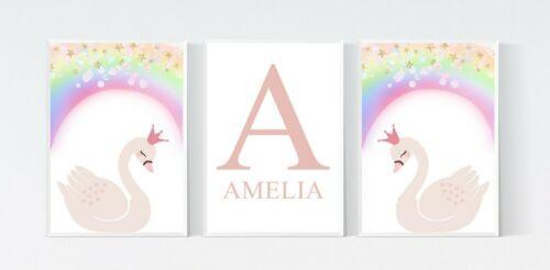 3 Princess Swan Rainbow Personalised Nursery Name Prints Wall Art Decor Pictures