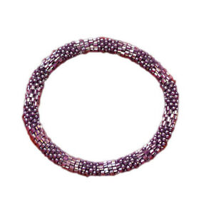 Textured-Purple-Crocheted-Beaded-Bracelet-Crocheted-Roll-Over-TB17