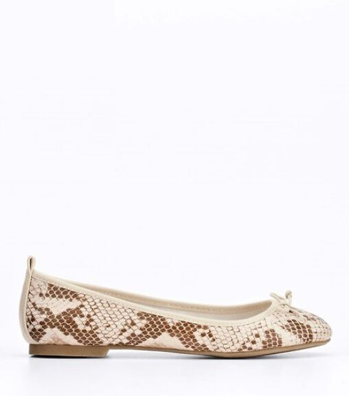NIB Ann Taylor Shanna Exotic Ballet Flats Size 8 Ivory Brown  1v
