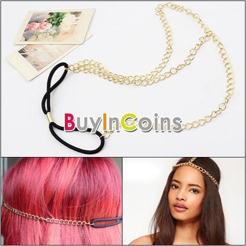 Fashion Women Golden Tone Metal Chain Elastic Hair Band Headband Headpiece