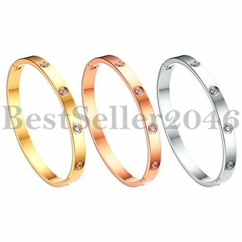 Women Girls Round CZ Stone Stainless Steel Bangle Mother Daughter Love Bracelet