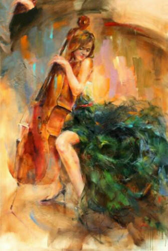 ZOPT855 hand abstract girl playing music portrait art OIL PAINTING art on CANVAS