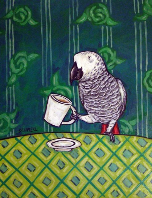African grey Parrot at the coffee shop 11x14 art print