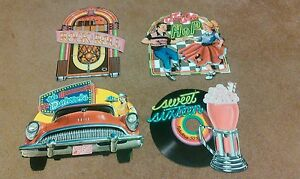 Details About Pack Of 4 1950 Themed Party Decoration Cutouts Sock Hop Record 16 In Beistle Co