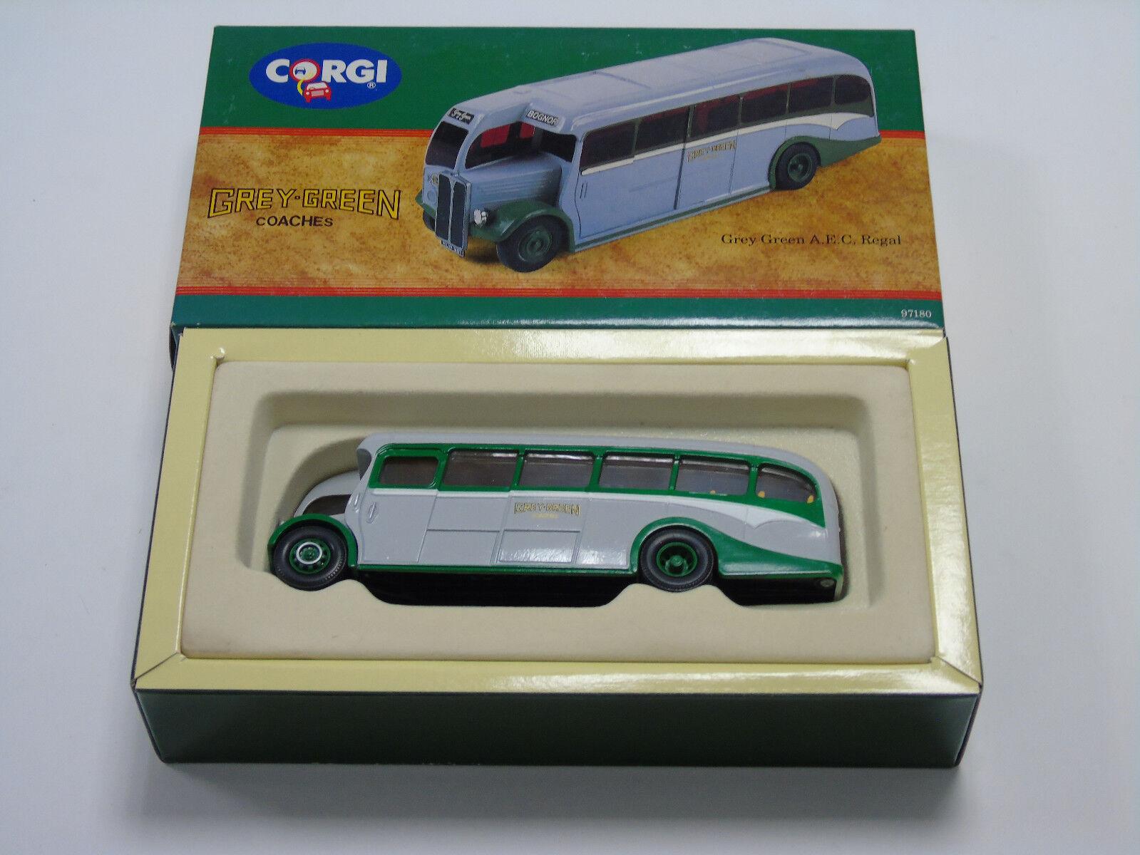 97180 Corgi Pressofusio modelllllerlerli grå grön Aec Regal buss Nuovo e con Scatola