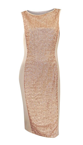 Marks /& Spencer Nude Pink Scuba Bodycon Dress with Sequin Panel Orig Price £49.5