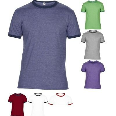 Anvil Adult Lightweight Ringer Tee Mens Fashion Semi Fitted Retro Cool T-Shirt T