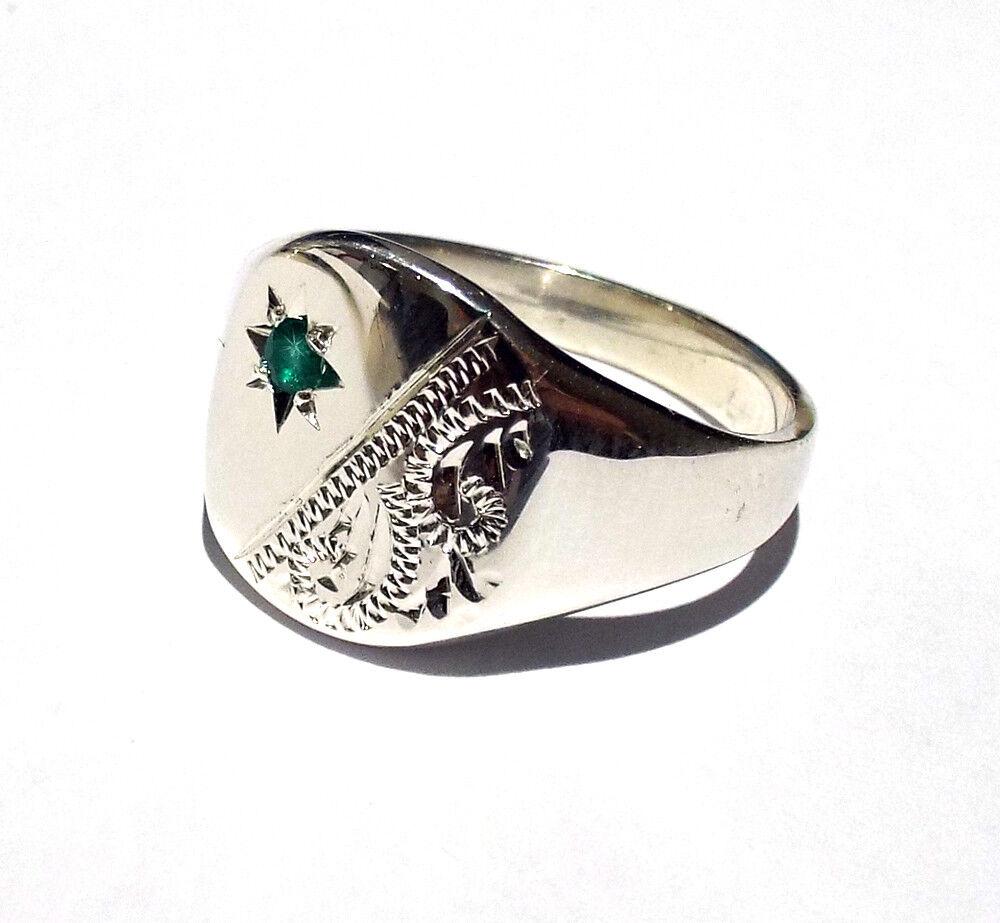 Signet Ring Emerald Men's White gold Gent's UK Hand Made Hallmarked Cushion