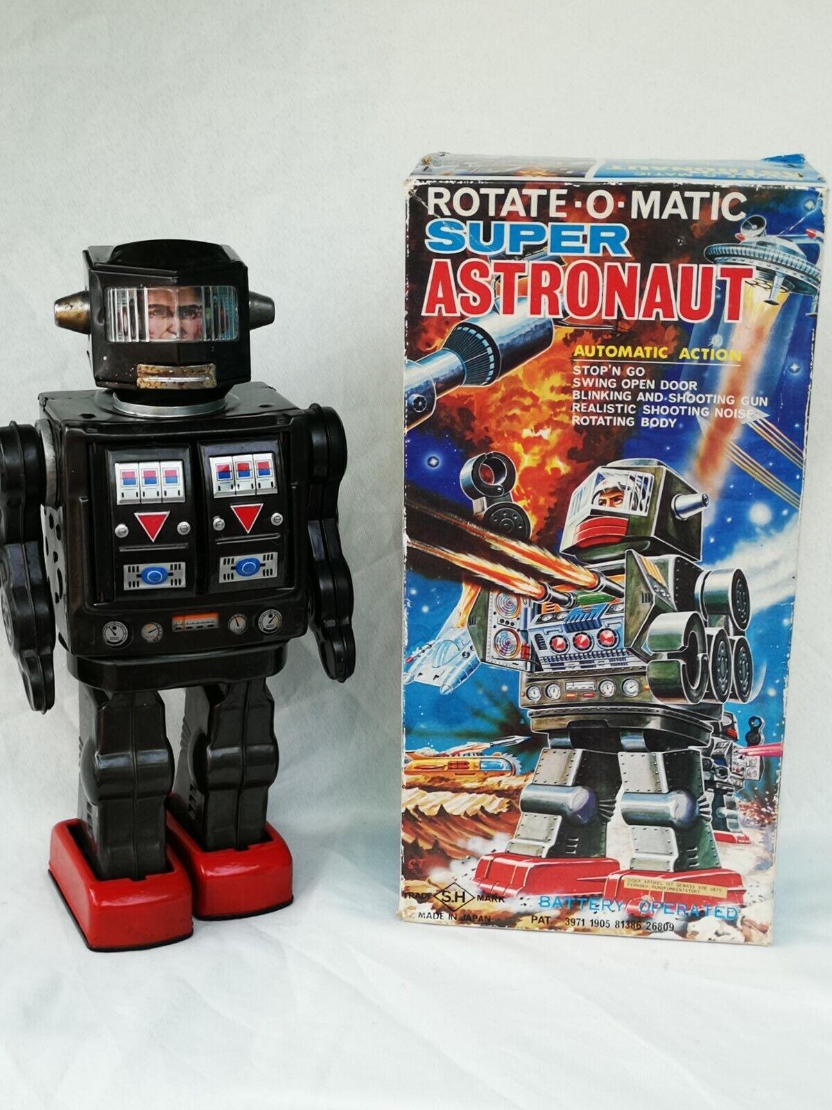 Horikawa SH Japan Super Astronaut Robot Rotate-O-Matic Blechspielzeug Boxed