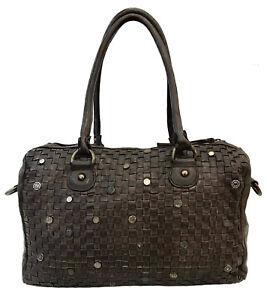 04418b9cfc384 Das Bild wird geladen Tasche-Geflochten-Handtaschen -Beutel-Vintage-Leder-Paul-hide-
