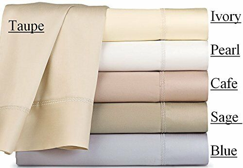 NEW WATERFORD CONLAN 330TC DUAL KING SHEET SET CAFE IVORY TAUPE PEARL Weiß  338