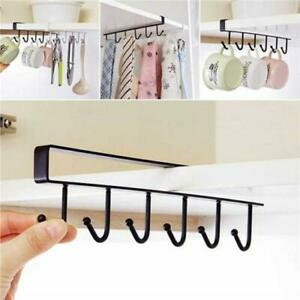 New Black 6 Hooks Cup Holder Hang Kitchen Cabinet Shelf Storage Rack Organizer