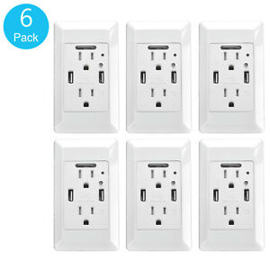 6pk 2 Usb Ports 4 2a Smart Fast Charging Socket Wall Outlet With Led Night Light Ebay