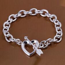 """Women's Unisex 925 Sterling Silver Heart Bracelet 8.5"""" L57"""