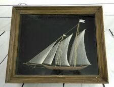 Vintage 3D String Nail Art Sail Boat with Heavy Duty Rustic Wood Framed Picture