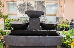 GRC-Outdoor-Garden-Patio-Trinity-Water-Feature-Cascading-Cup-Fountain-Black