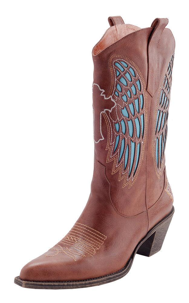 Angel Wing Cowboy Leder Stiefel, Größe 9.5, Braun Leder Cowboy Wing Stiefel, Leder Stiefel 19f83f