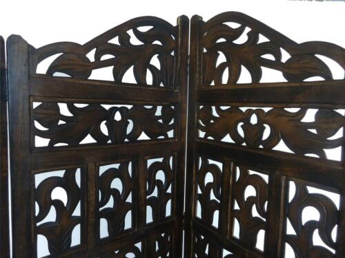 4 Panel Heavy Duty Carved Indian Screen Wooden Gamla Design Screen Room Divider