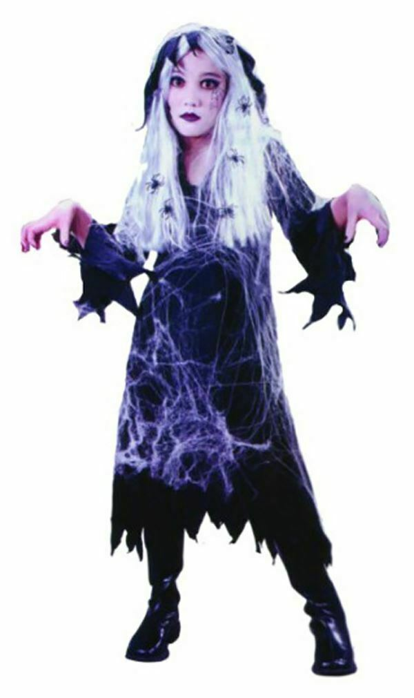 GHOSTLY WITCH WITH COSTUME WITH SPIDERS WEBS HALLOWEEN FANCY DRESS