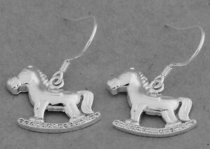 Adorable STERLING SILVER ROCKING HORSE earrings with Clear Crystals PERFECT GIFT