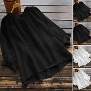 ZANZEA-Femme-Chemise-Manche-3-4-Casual-Decontracte-lache-Loisir-Shirt-Tops-Plus