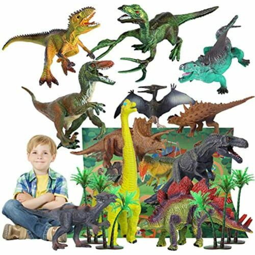 Dinosaur Toys 12pcs Realistic Dinosaurs Set Kids,31.5 X 27.5 Inch Large Flannel