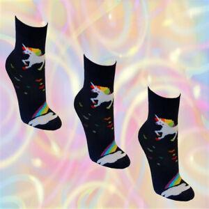 3-Paar-Einhorn-Maedchen-Socken-Damen-Struempfe-unicorn-Kinder-Pferd-bunt-dunkelbla