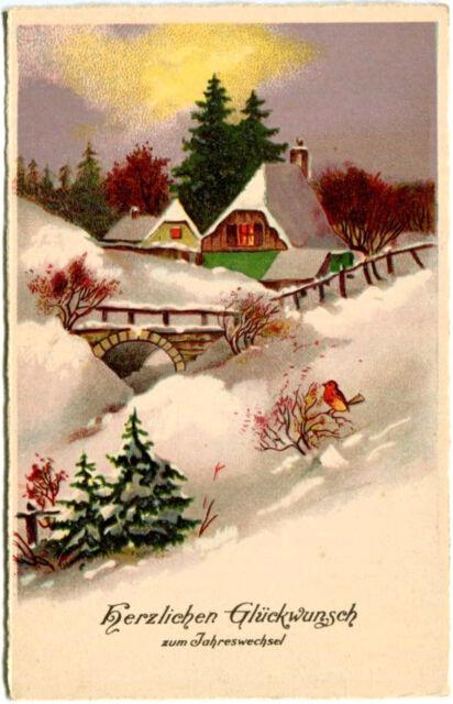 AK Neujahr ca. 1935 ? Herzlichen Glückwunsch zum Jahreswechsel - Gehöft Schnee
