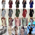 Women Casual Long Sleeve Jumper Sweater Top Shirt Slim Party Bodycon Mini Dress