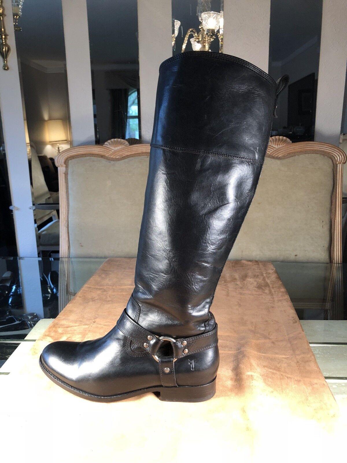 Frye Melissa Knee- High Black Harness Boots Sz.9 1/2 B
