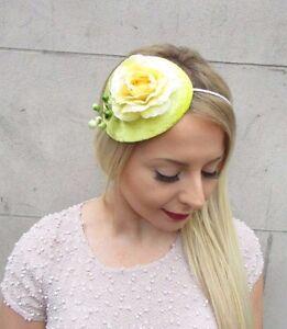 Image is loading Lemon-Yellow-Berry-Flower-Fascinator -Teardrop-Races-Vintage- f7de0510208